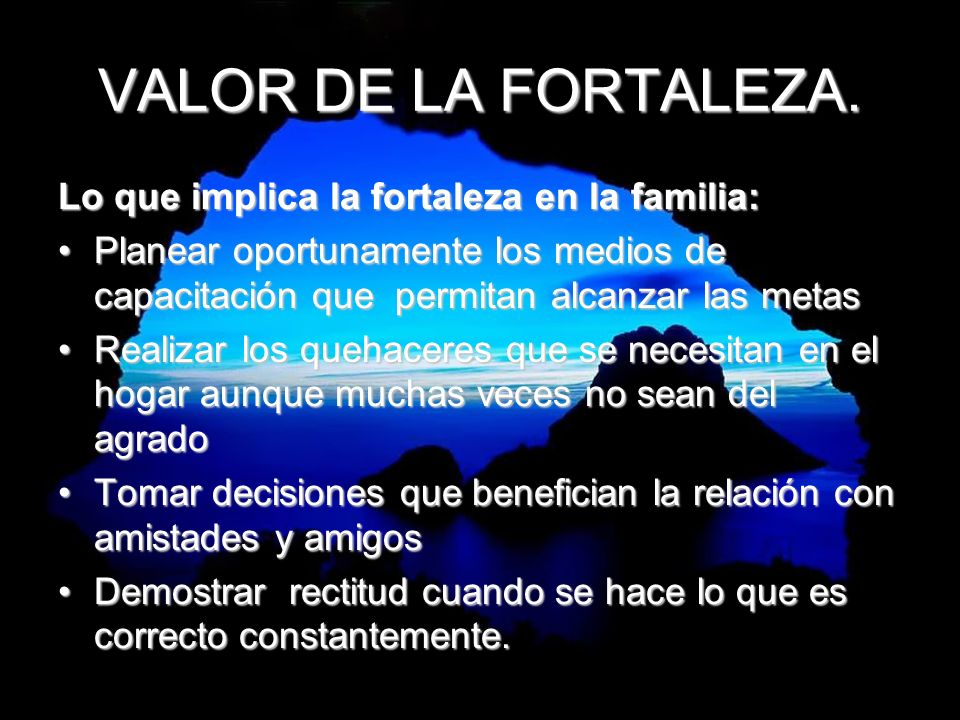 VALOR DE LA FORTALEZA. Lo que implica la fortaleza en la familia:
