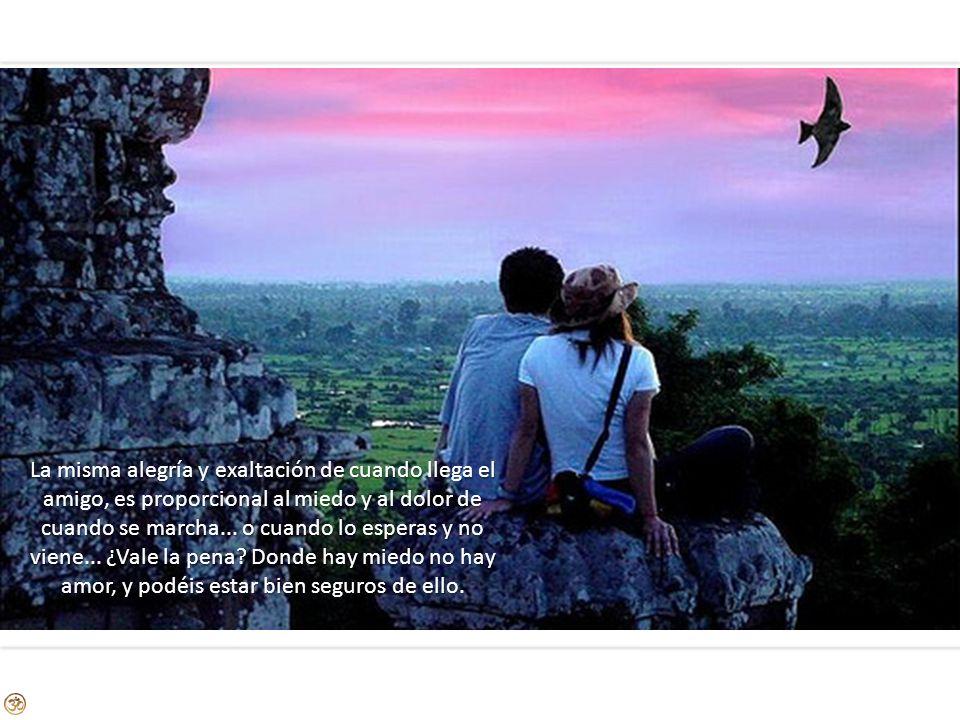La misma alegría y exaltación de cuando llega el amigo, es proporcional al miedo y al dolor de cuando se marcha...
