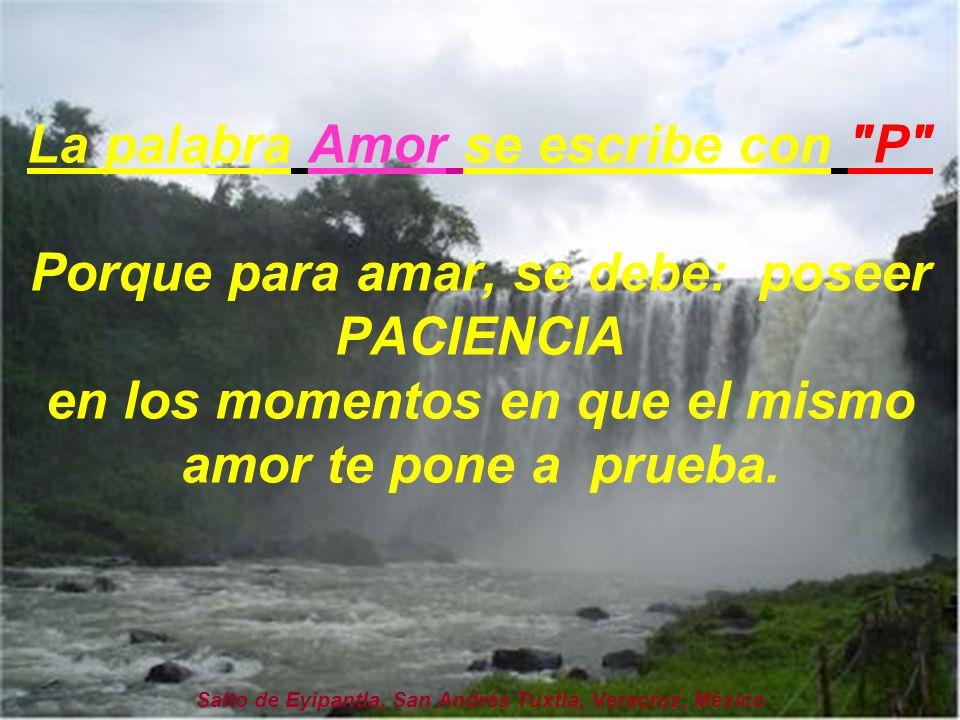 La palabra Amor se escribe con P Porque para amar, se debe: poseer PACIENCIA en los momentos en que el mismo amor te pone a prueba.