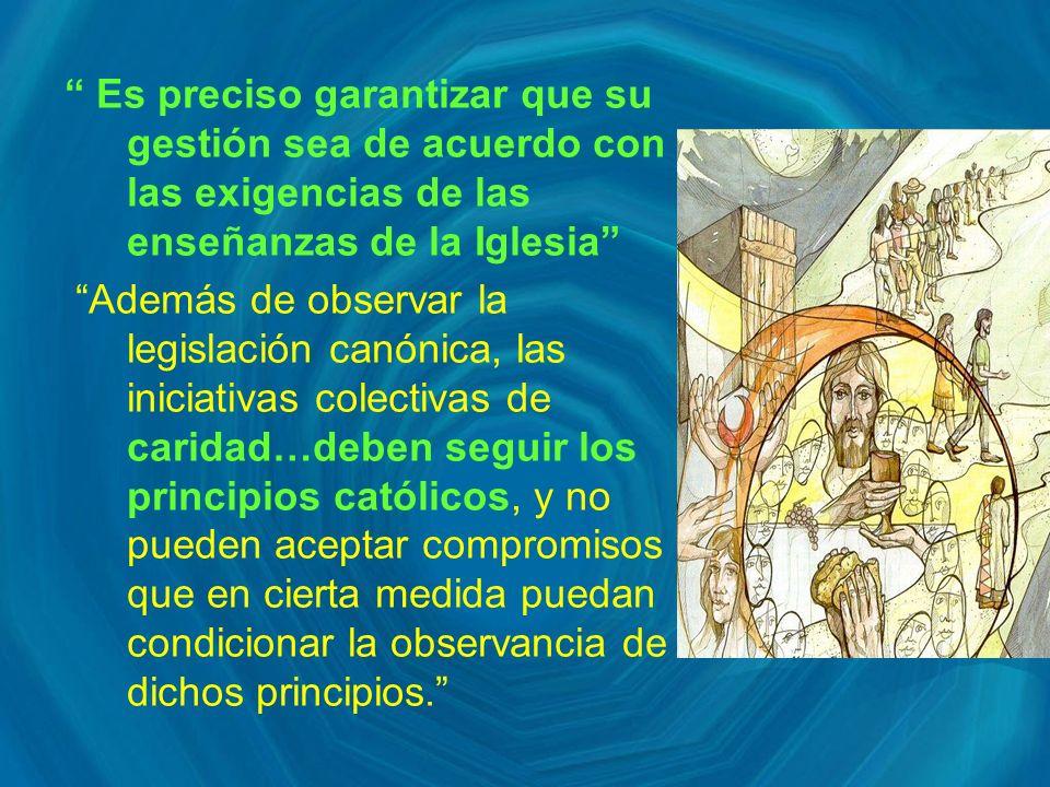 Es preciso garantizar que su gestión sea de acuerdo con las exigencias de las enseñanzas de la Iglesia