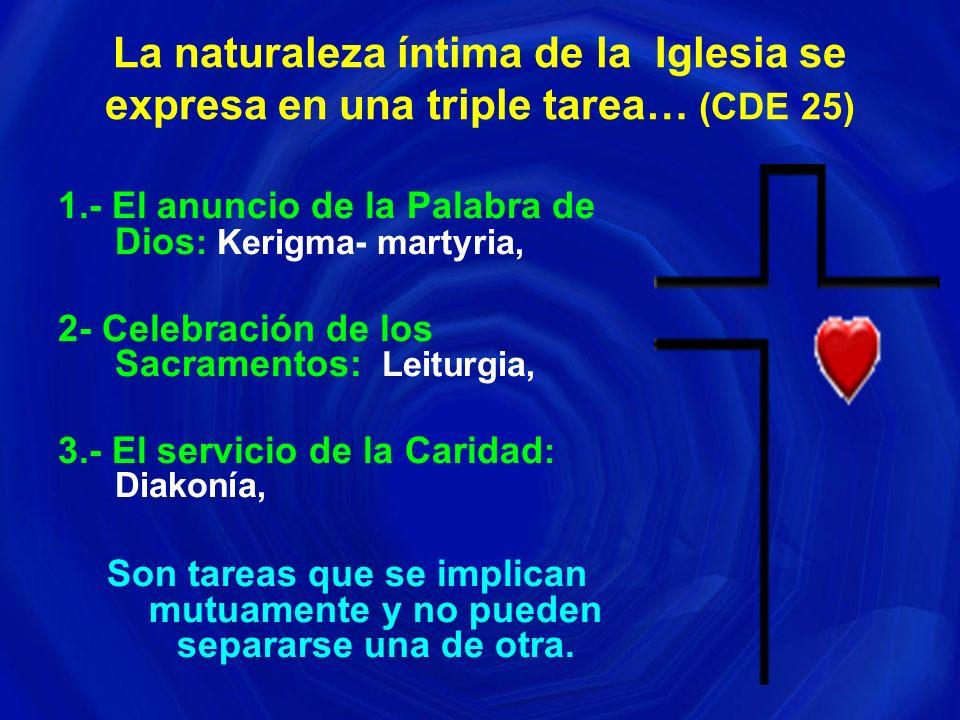 La naturaleza íntima de la Iglesia se expresa en una triple tarea… (CDE 25)