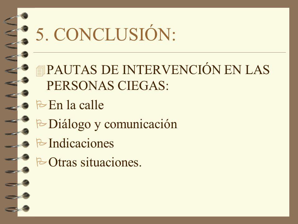 5. CONCLUSIÓN: PAUTAS DE INTERVENCIÓN EN LAS PERSONAS CIEGAS: