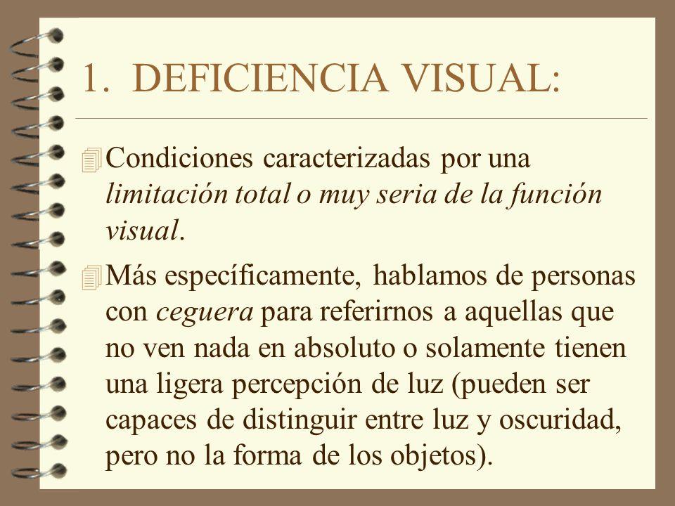 1. DEFICIENCIA VISUAL: Condiciones caracterizadas por una limitación total o muy seria de la función visual.