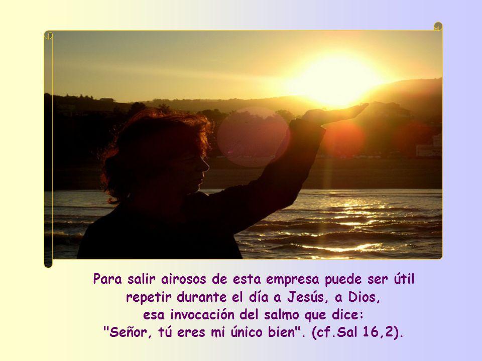 Para salir airosos de esta empresa puede ser útil repetir durante el día a Jesús, a Dios, esa invocación del salmo que dice: Señor, tú eres mi único bien .
