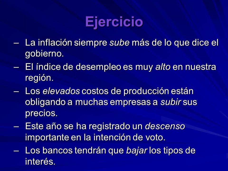 Ejercicio La inflación siempre sube más de lo que dice el gobierno.