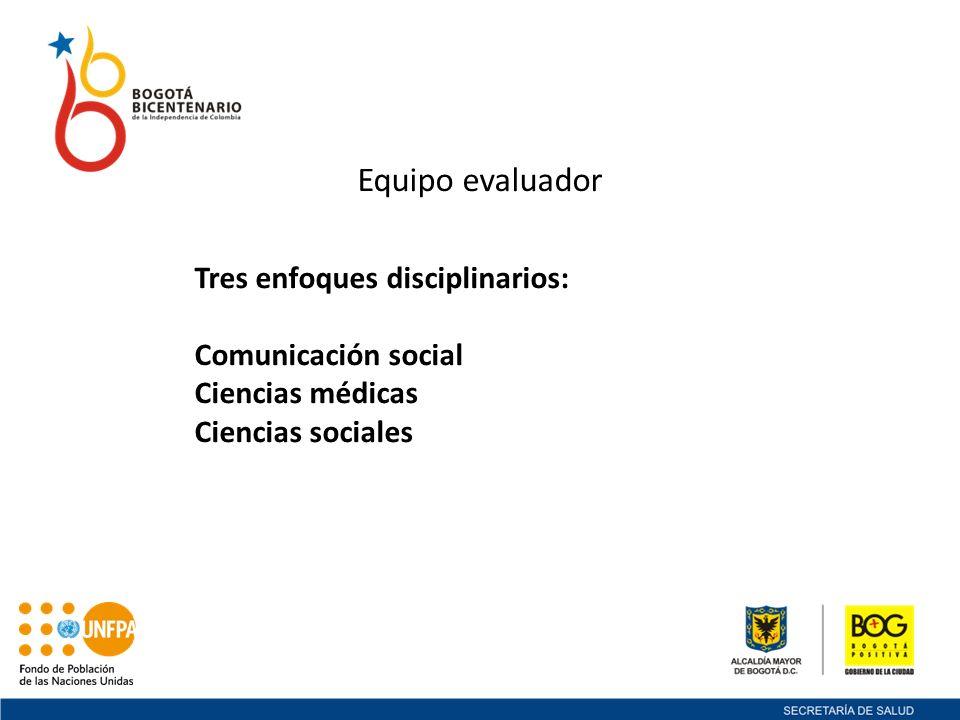 Equipo evaluador Tres enfoques disciplinarios: Comunicación social
