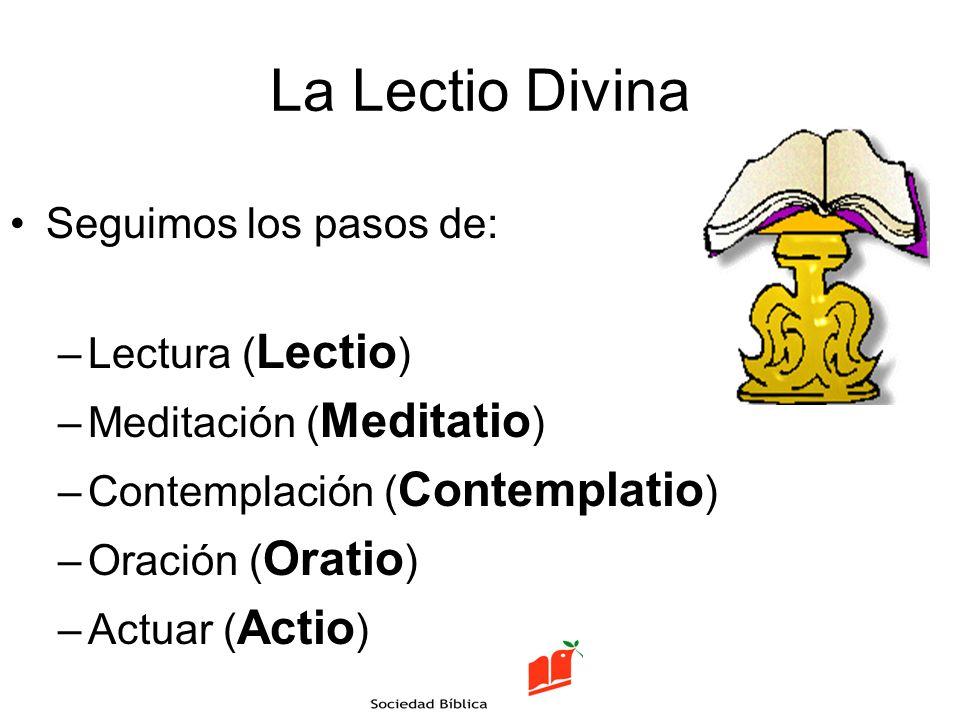 La Lectio Divina Seguimos los pasos de: Lectura (Lectio)
