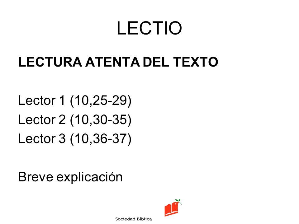 LECTIO LECTURA ATENTA DEL TEXTO Lector 1 (10,25-29)