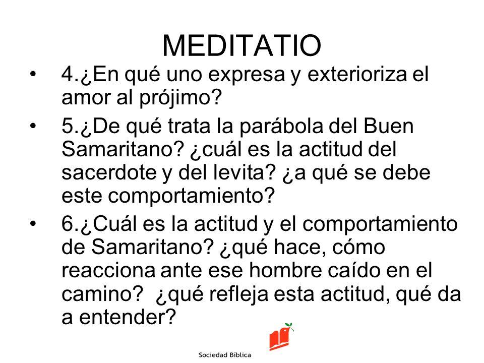 MEDITATIO 4.¿En qué uno expresa y exterioriza el amor al prójimo