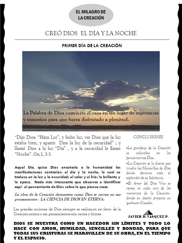 PRIMER DÍA DE LA CREACIÓN