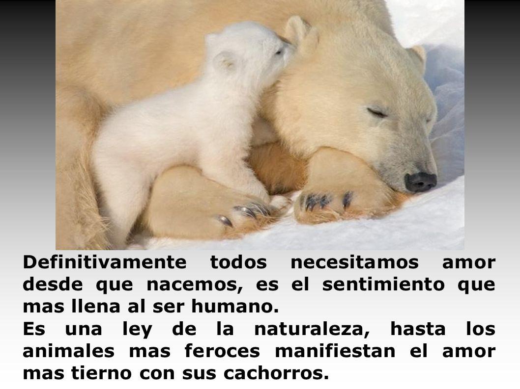 Definitivamente todos necesitamos amor desde que nacemos, es el sentimiento que mas llena al ser humano.