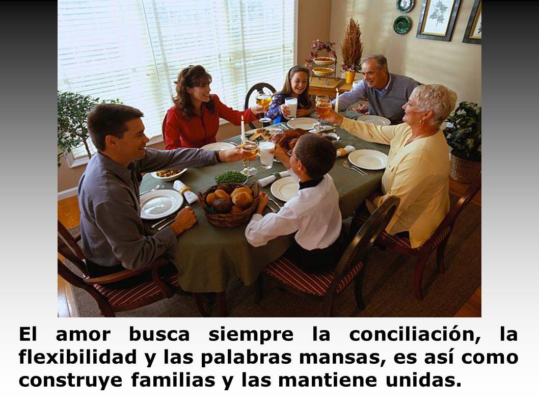 El amor busca siempre la conciliación, la flexibilidad y las palabras mansas, es así como construye familias y las mantiene unidas.
