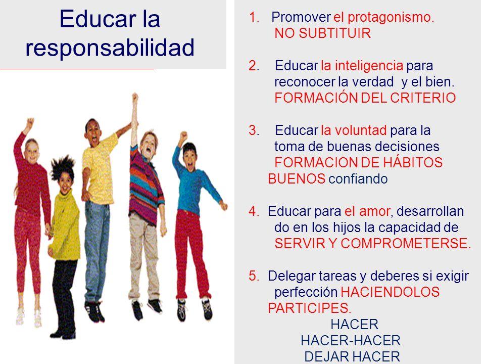 Educar la responsabilidad Promover el protagonismo. NO SUBTITUIR