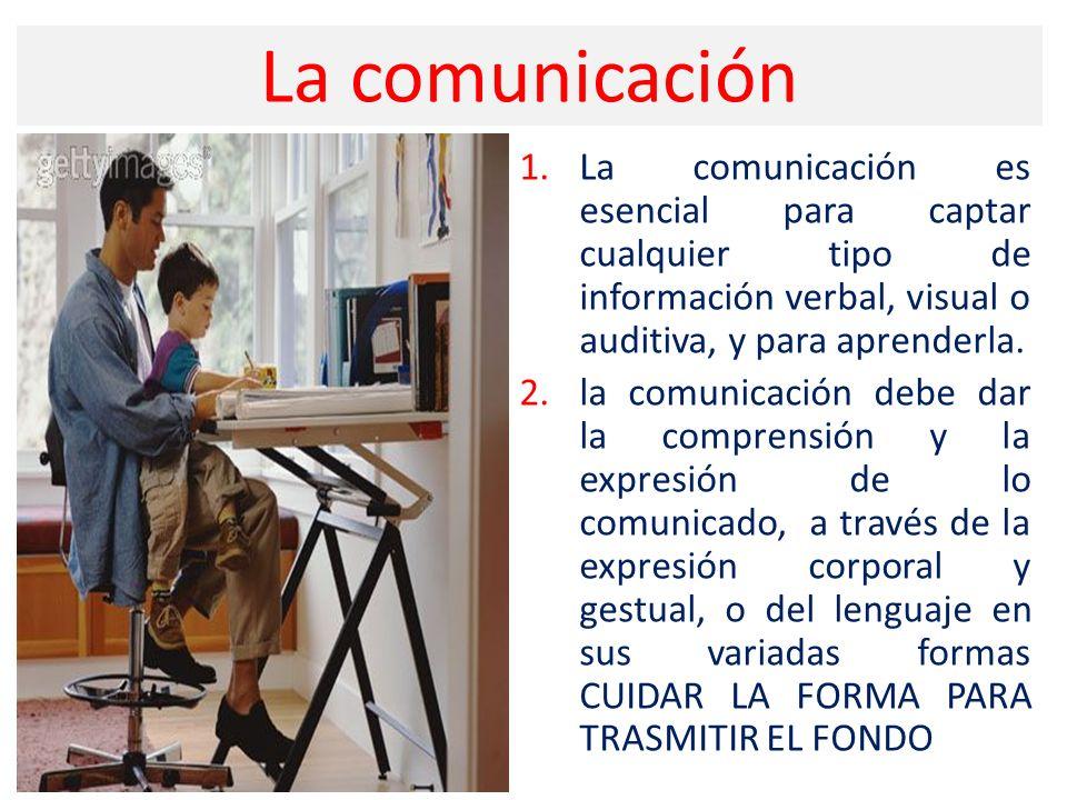 La comunicación La comunicación es esencial para captar cualquier tipo de información verbal, visual o auditiva, y para aprenderla.
