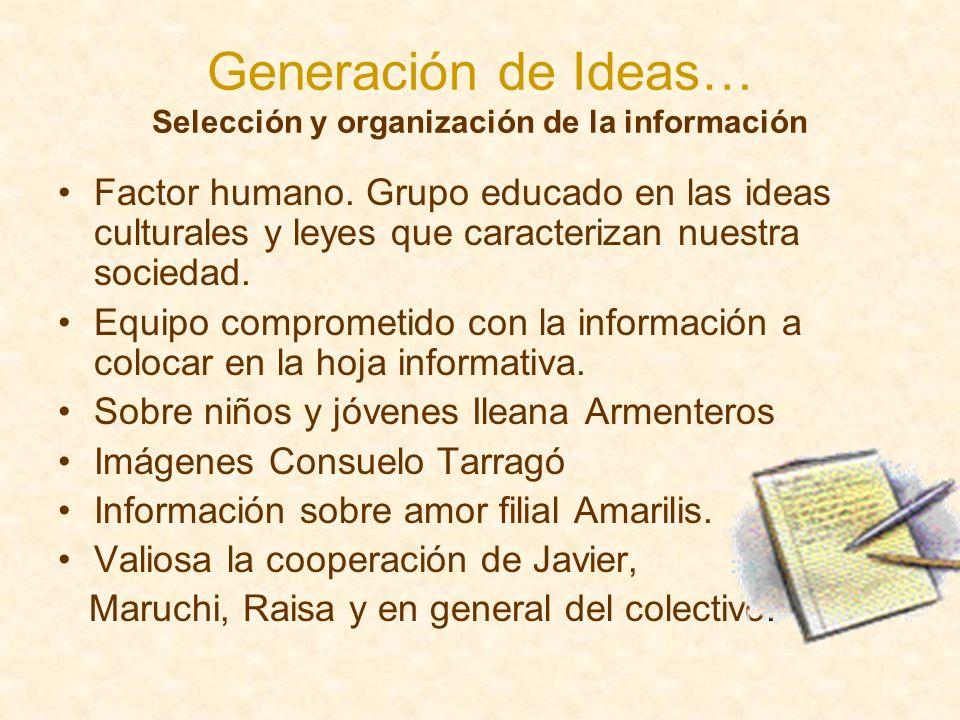 Generación de Ideas… Selección y organización de la información