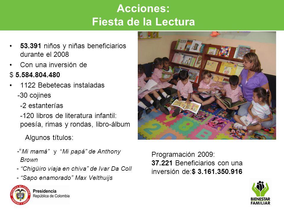 Acciones: Fiesta de la Lectura a la Primera Infancia