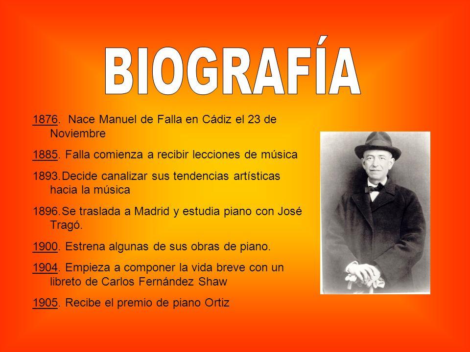 BIOGRAFÍA 1876. Nace Manuel de Falla en Cádiz el 23 de Noviembre