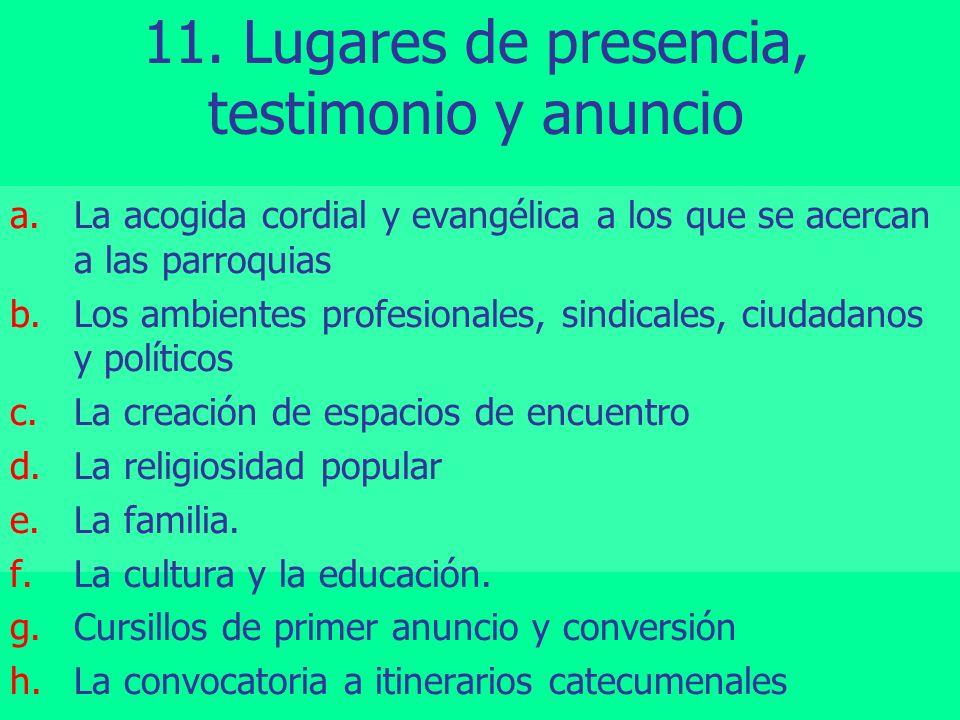 11. Lugares de presencia, testimonio y anuncio