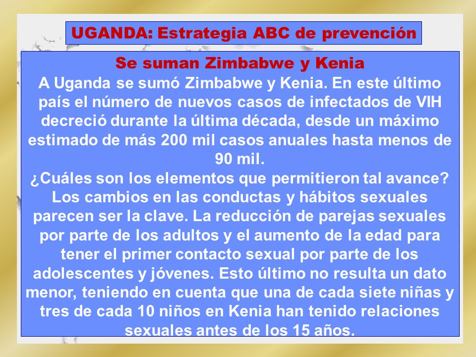 UGANDA: Estrategia ABC de prevención Se suman Zimbabwe y Kenia