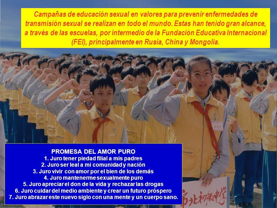Campañas de educación sexual en valores para prevenir enfermedades de transmisión sexual se realizan en todo el mundo. Estas han tenido gran alcance, a través de las escuelas, por intermedio de la Fundación Educativa Internacional (FEI), principalmente en Rusia, China y Mongolia.