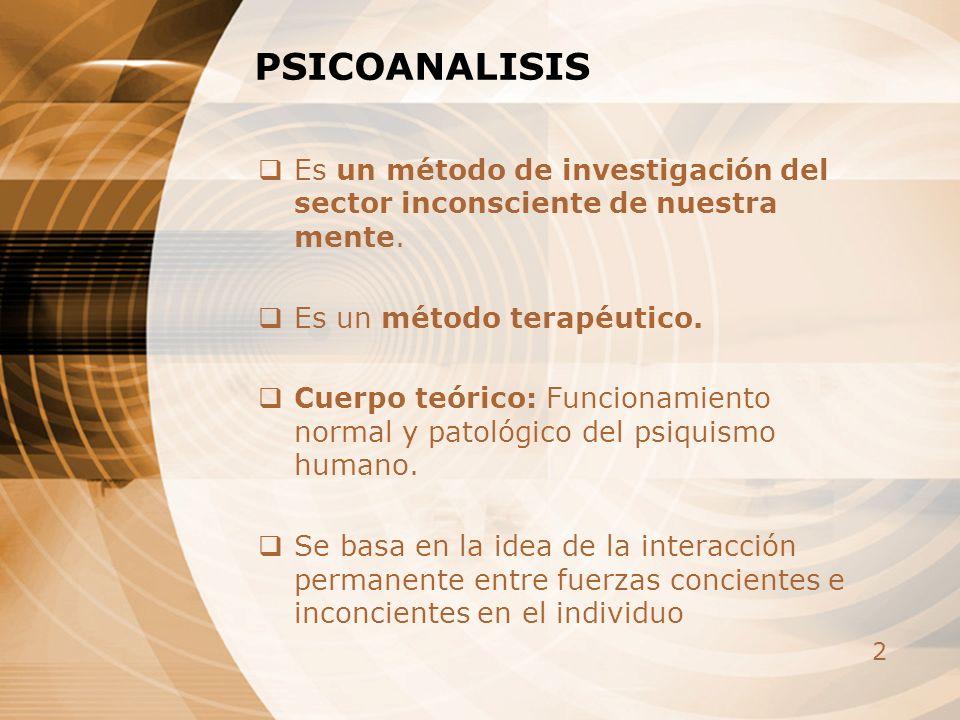 PSICOANALISIS Es un método de investigación del sector inconsciente de nuestra mente. Es un método terapéutico.