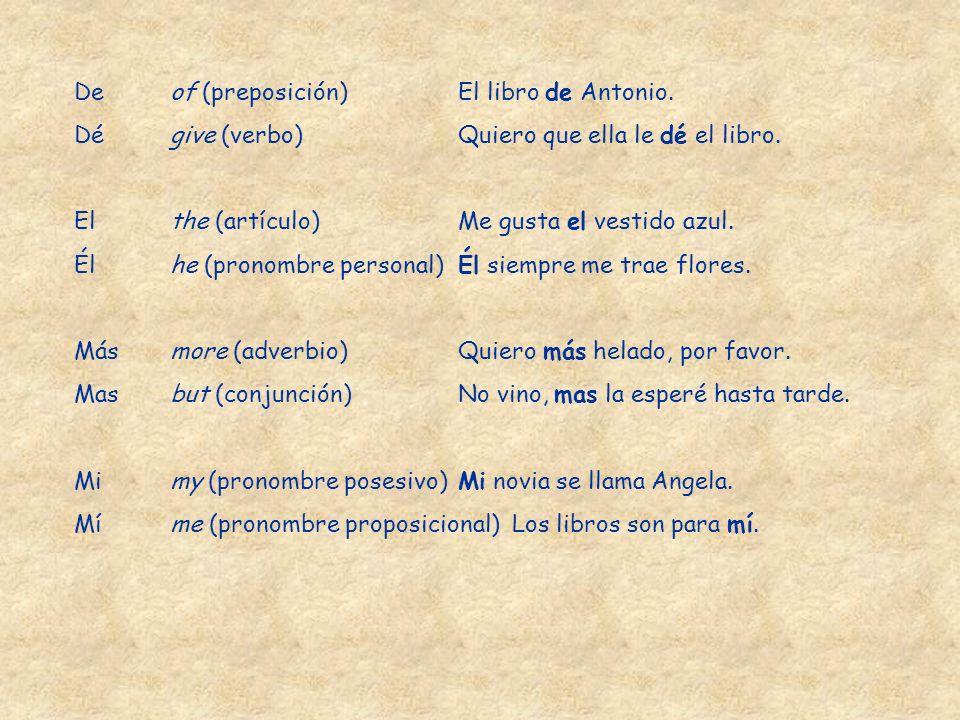 De of (preposición) El libro de Antonio.