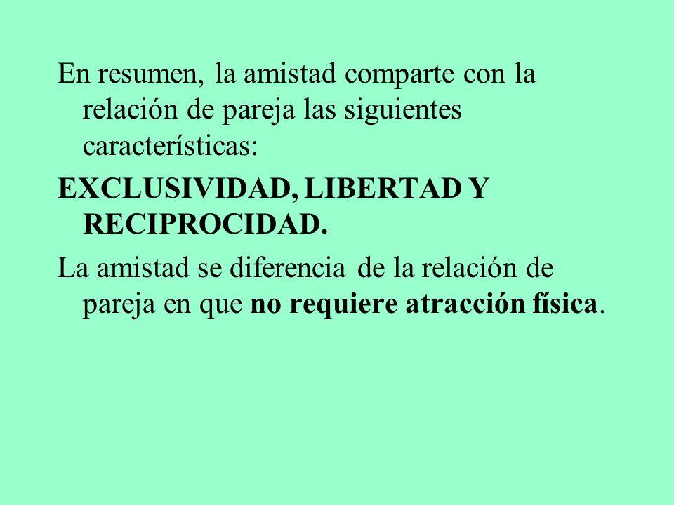 En resumen, la amistad comparte con la relación de pareja las siguientes características: EXCLUSIVIDAD, LIBERTAD Y RECIPROCIDAD.