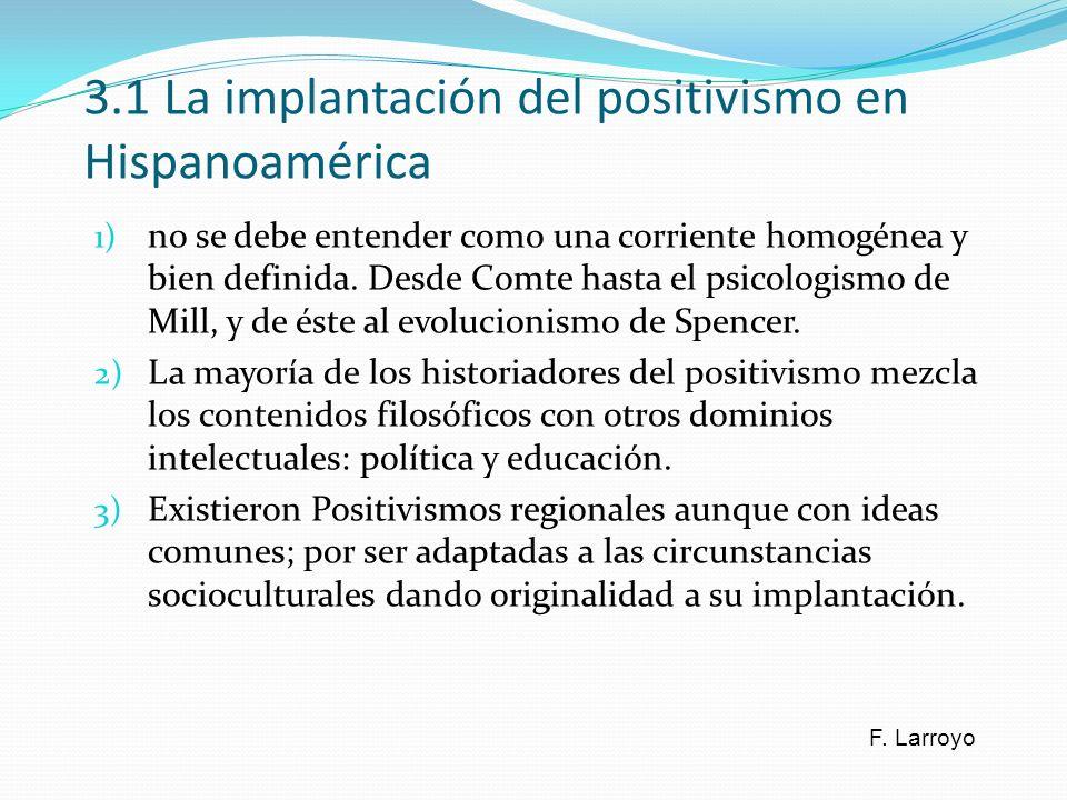 3.1 La implantación del positivismo en Hispanoamérica