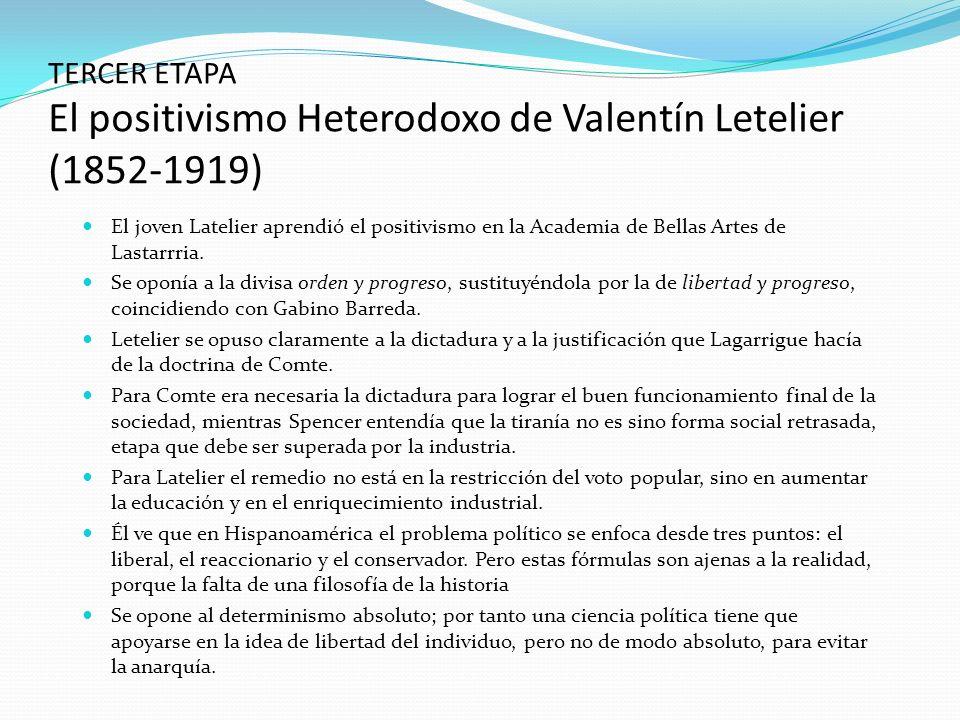 TERCER ETAPA El positivismo Heterodoxo de Valentín Letelier (1852-1919)