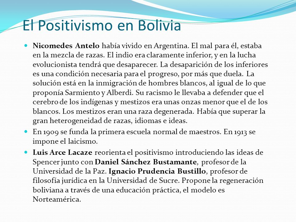 El Positivismo en Bolivia