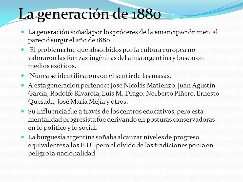 La generación de 1880 La generación soñada por los próceres de la emancipación mental pareció surgir el año de 1880.