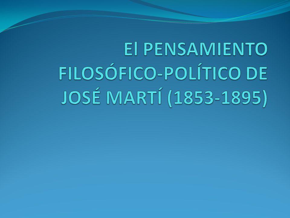 El PENSAMIENTO FILOSÓFICO-POLÍTICO DE JOSÉ MARTÍ (1853-1895)
