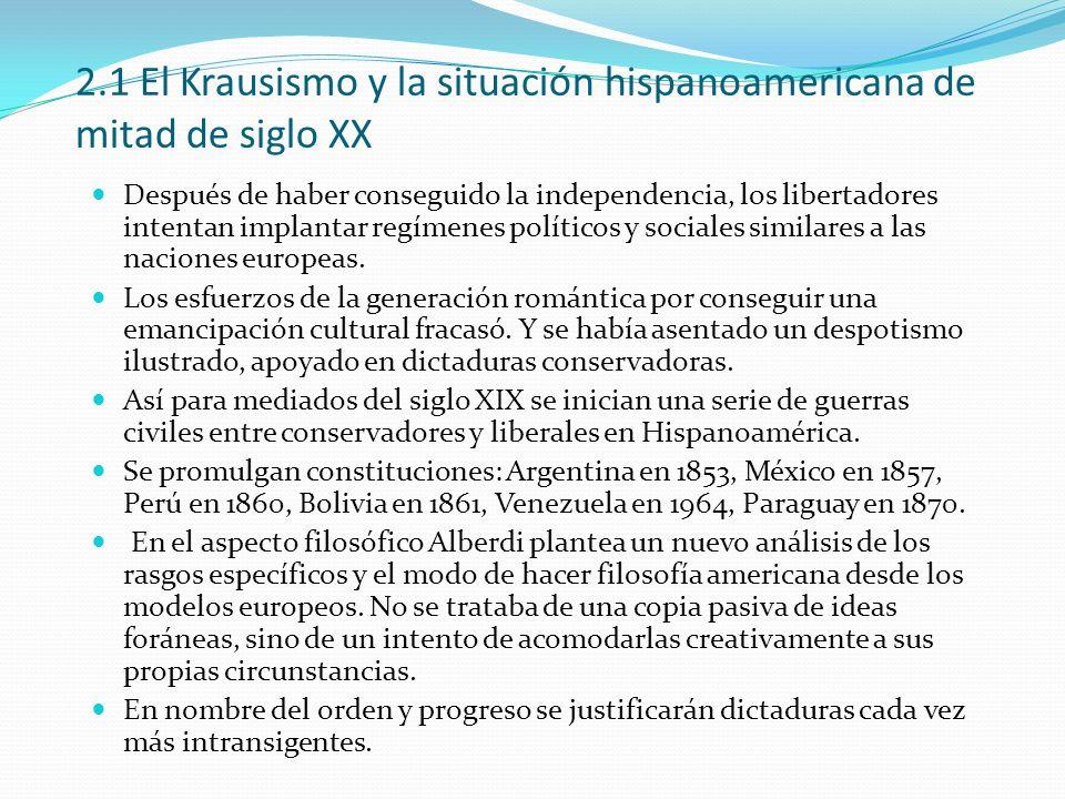 2.1 El Krausismo y la situación hispanoamericana de mitad de siglo XX