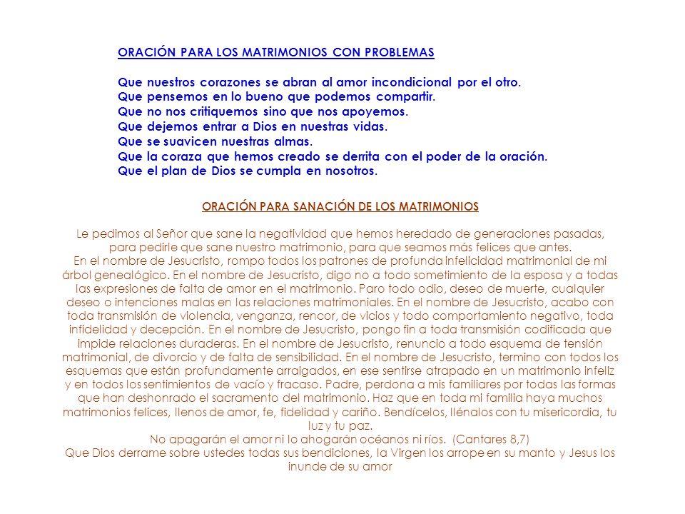 ORACIÓN PARA SANACIÓN DE LOS MATRIMONIOS