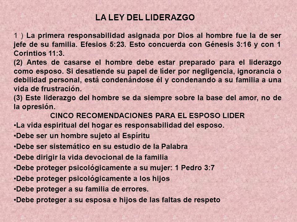 CINCO RECOMENDACIONES PARA EL ESPOSO LIDER