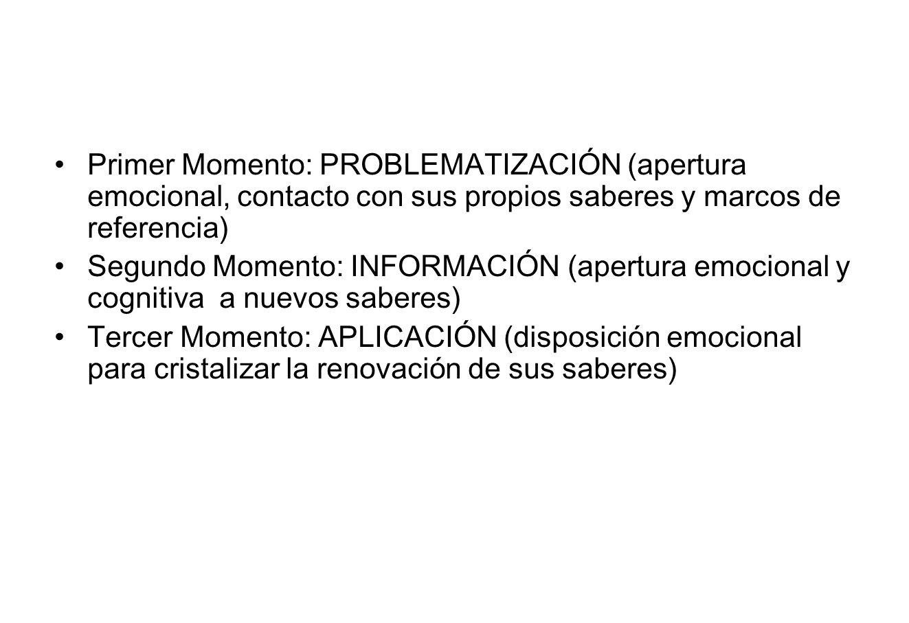 Primer Momento: PROBLEMATIZACIÓN (apertura emocional, contacto con sus propios saberes y marcos de referencia)