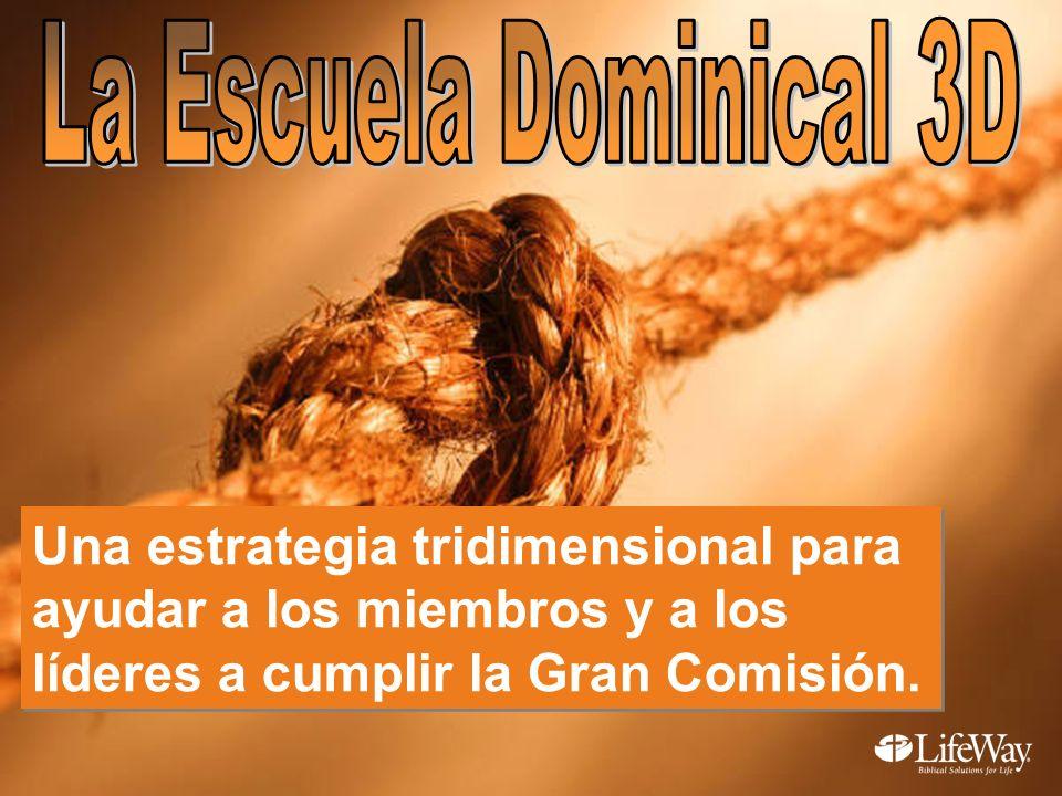 La Escuela Dominical 3D Una estrategia tridimensional para ayudar a los miembros y a los líderes a cumplir la Gran Comisión.