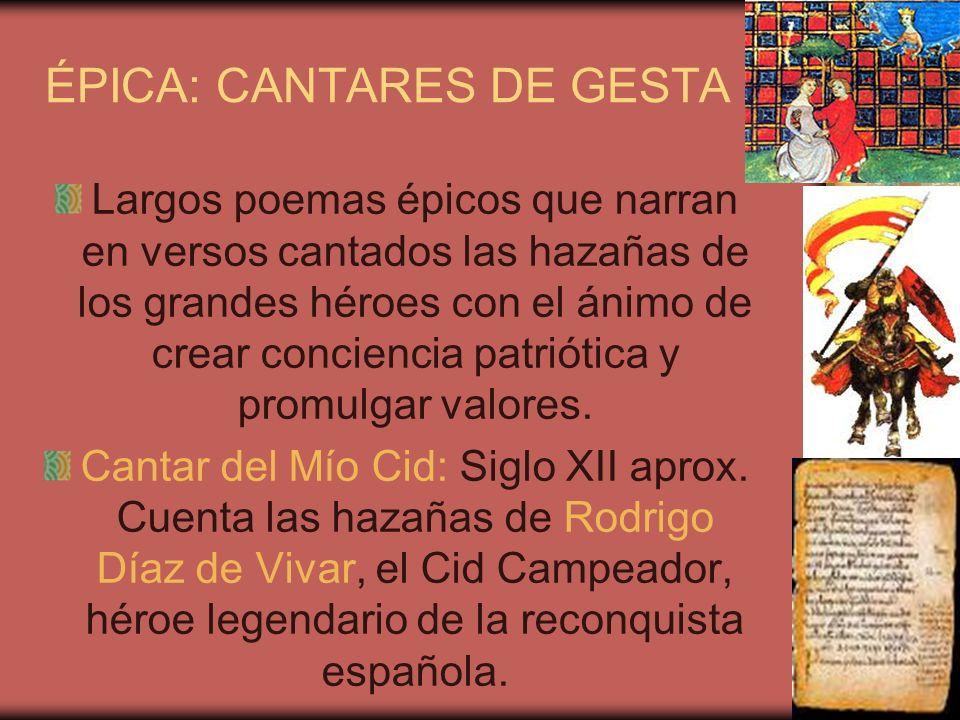 ÉPICA: CANTARES DE GESTA