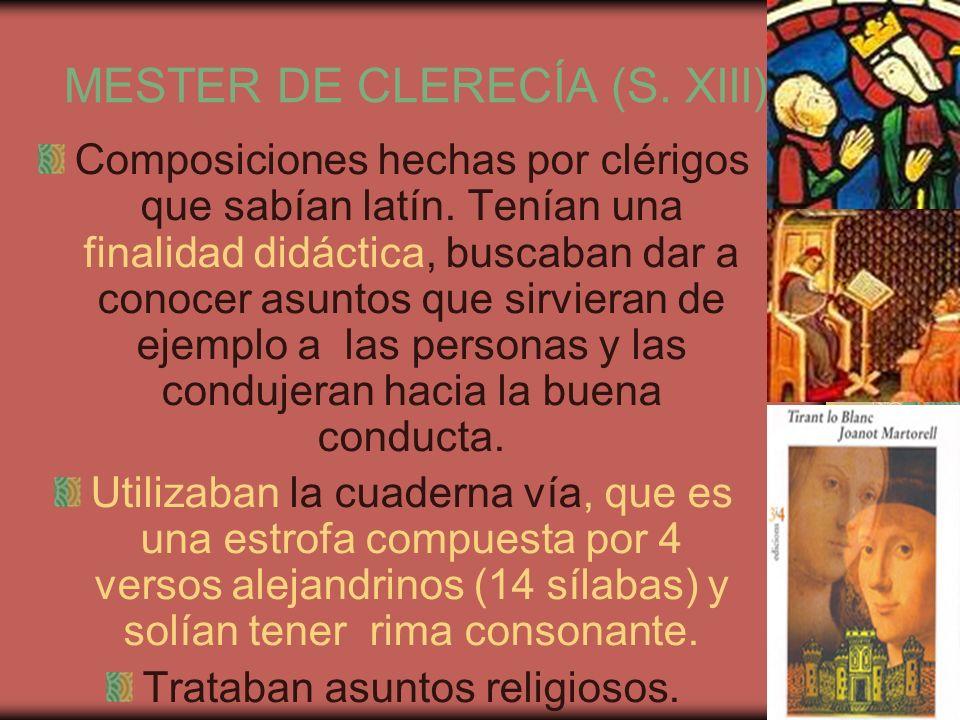 MESTER DE CLERECÍA (S. XIII)