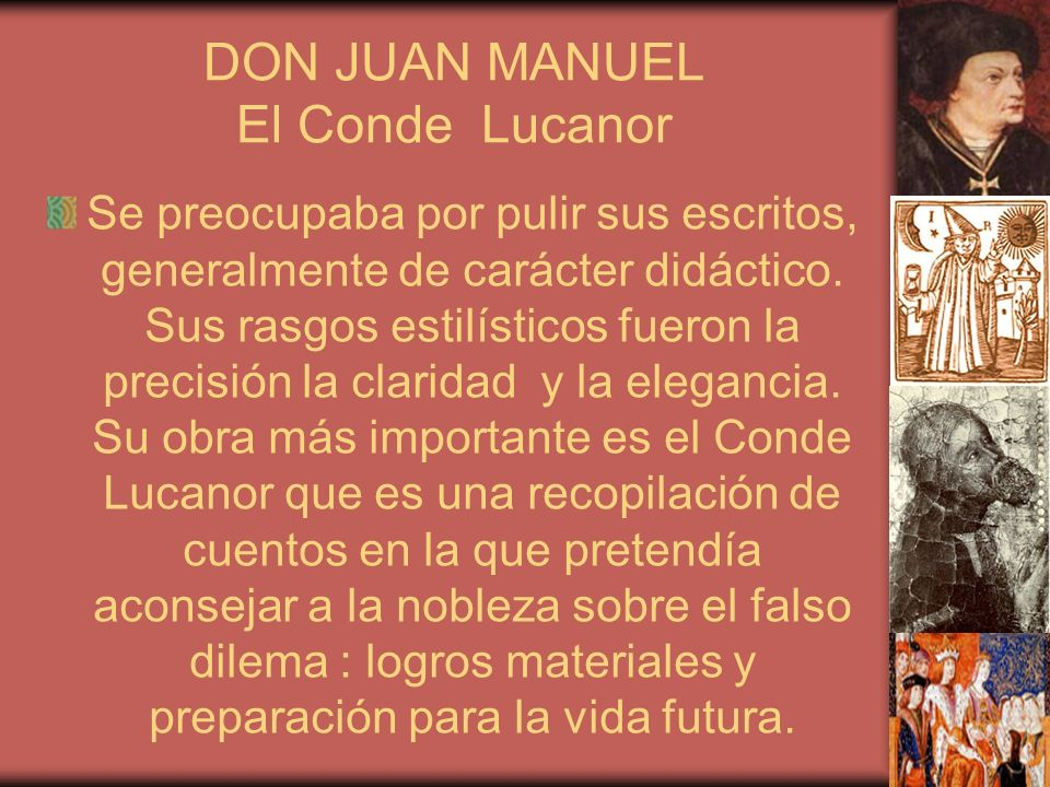 DON JUAN MANUEL El Conde Lucanor