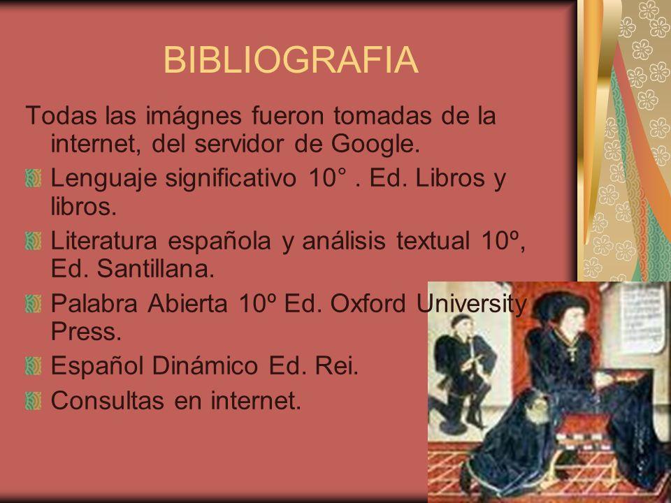 BIBLIOGRAFIA Todas las imágnes fueron tomadas de la internet, del servidor de Google. Lenguaje significativo 10° . Ed. Libros y libros.