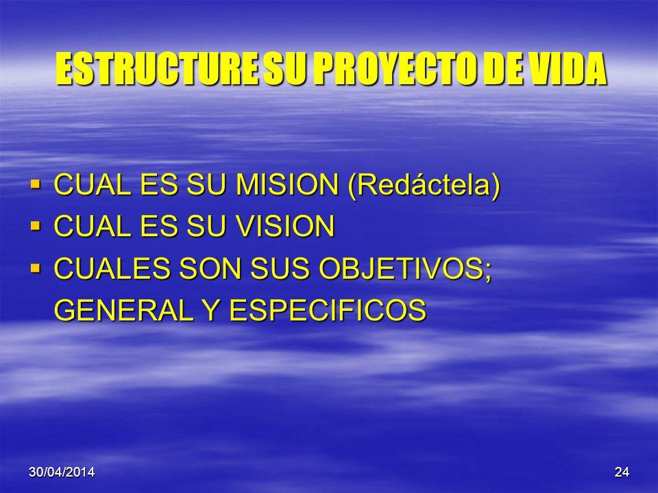 ESTRUCTURE SU PROYECTO DE VIDA