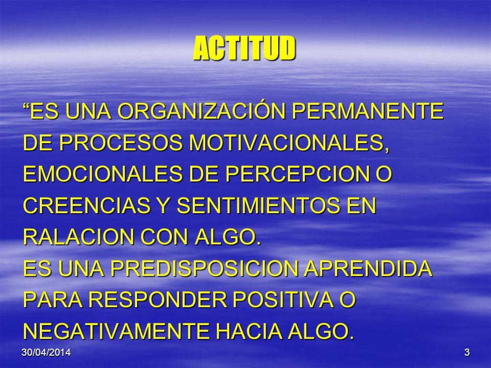ACTITUD ES UNA ORGANIZACIÓN PERMANENTE DE PROCESOS MOTIVACIONALES,