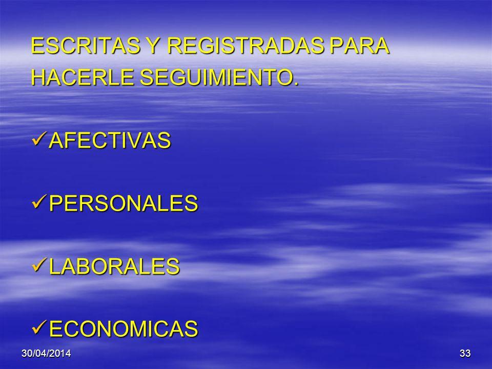 ESCRITAS Y REGISTRADAS PARA HACERLE SEGUIMIENTO. AFECTIVAS PERSONALES