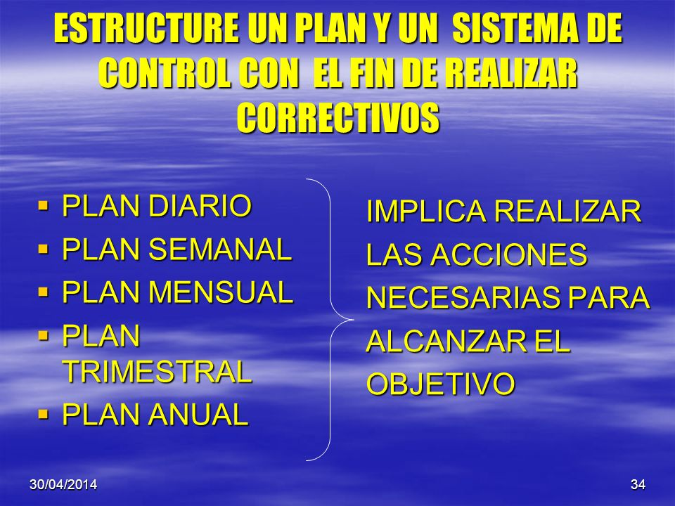 ESTRUCTURE UN PLAN Y UN SISTEMA DE CONTROL CON EL FIN DE REALIZAR CORRECTIVOS