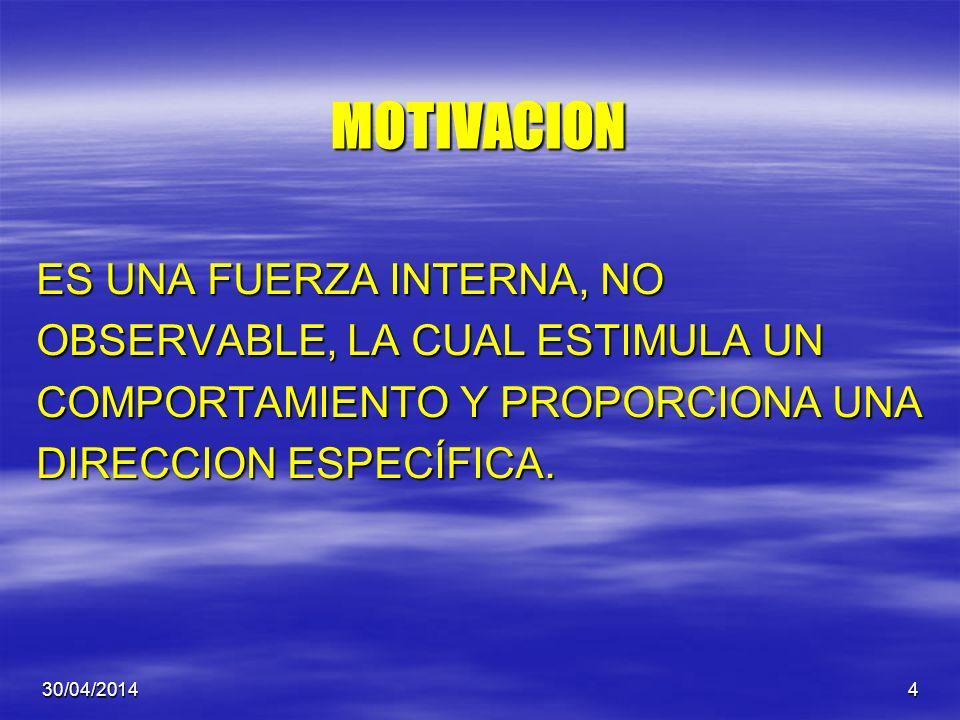 MOTIVACION ES UNA FUERZA INTERNA, NO OBSERVABLE, LA CUAL ESTIMULA UN