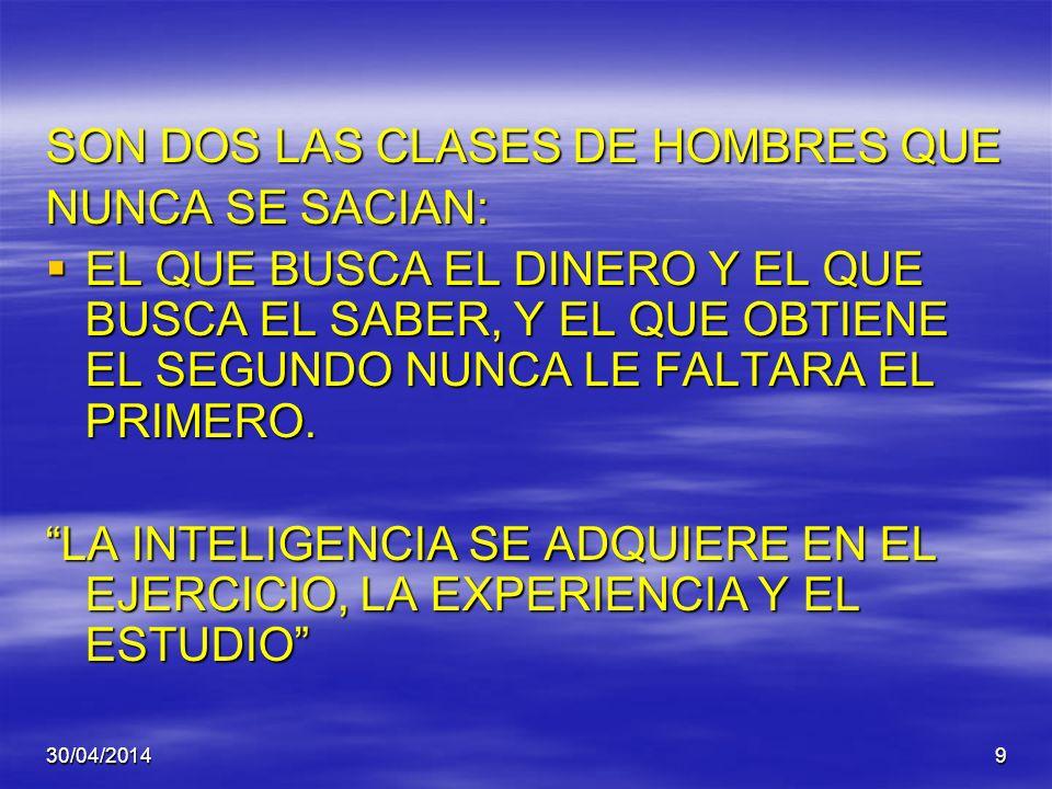 SON DOS LAS CLASES DE HOMBRES QUE NUNCA SE SACIAN: