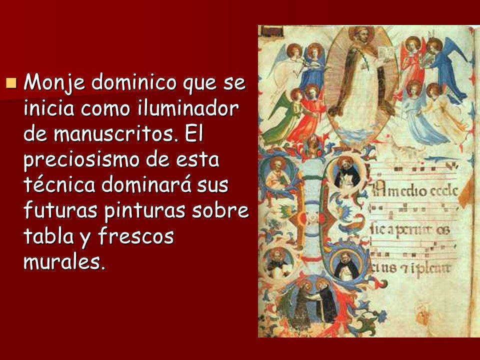 Monje dominico que se inicia como iluminador de manuscritos