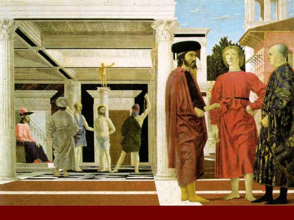 Utilización de la perspectiva con rigor matemático, aunque Piero no suele invitar al espectador a percibir ficticios mundos más allá de la superficie del soporte.