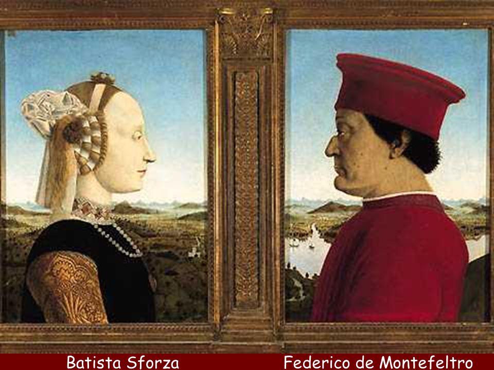 Piero es también el retratista cortesano de los príncipes y tiranos del Quattrocento. En Rímini retrata a Segismundo Malatesta, en Ferrara a Lionelo d Este y en Urbino a los duques Federico de Montefeltro y Battista Sforza, mediante el modelo llamado retrato numismático .